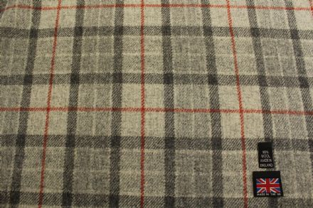 100% Pure New Wool Plaid Tweed Fabric | BZ57